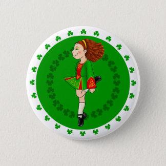 Irisches Tanzen-Mädchen-Abzeichen Runder Button 5,1 Cm