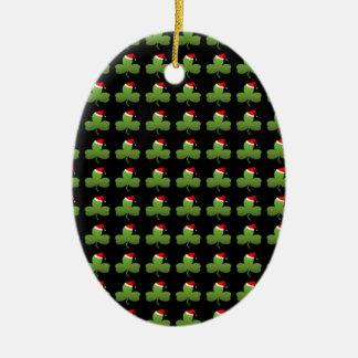 Irisches Weihnachtsklee-Muster Keramik Ornament