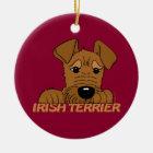 Irish Terrier Kopf Cute Keramik Ornament