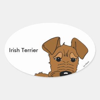Irish Terrier Kopf Cute Ovaler Aufkleber