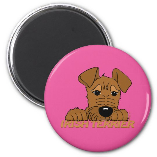 Irish Terrier Kopf Cute Runder Magnet 5,7 Cm