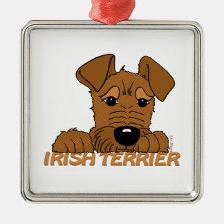 Irish Terrier Kopf Cute Silbernes Ornament