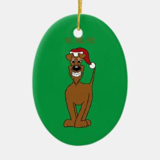 irish Terrier Santa Keramik Ornament