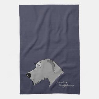 Irish Wolfhound Kopf Silhouette Handtuch