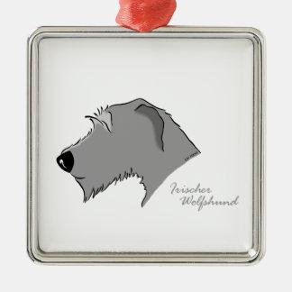 Irish Wolfhound Kopf Silhouette Silbernes Ornament