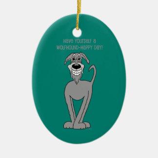 Irish Wolfhound Smile Ovales Keramik Ornament