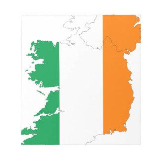 Irland-Flaggen-Karte Notizblock