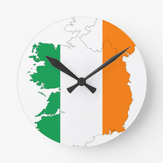 Irland-Flaggen-Karte Runde Wanduhr