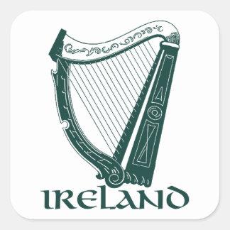 Irland-Harfen-Entwurf, irische Harfe Quadratischer Aufkleber