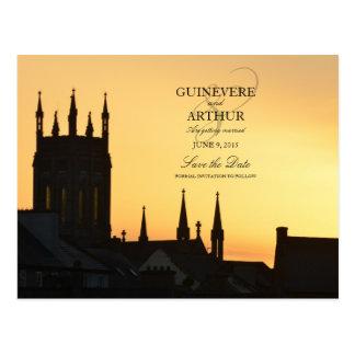 Irland-Schloss-Abtei, die Save the Date Wedding Postkarte