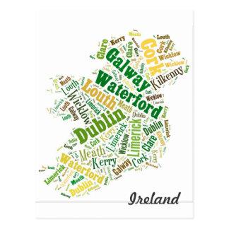 Irland-Stadt-Wort-Kunst Postkarte