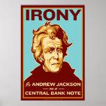 Ironie ist Jackson auf einem zentralen Banknoten-P Plakat