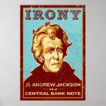 Ironie ist Jackson auf einem zentralen Banknoten-P Poster
