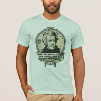 Ironie ist Jackson auf einem zentralen T-Shirt