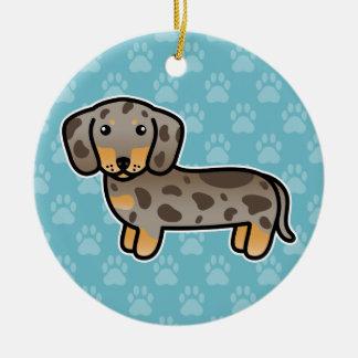 Isabella und TAN Dapple glatten Mantel-Dackel-Hund Keramik Ornament