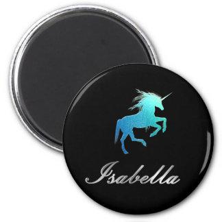 Isabellanamensmagnet - GlitterUnicorn, glänzend Runder Magnet 5,7 Cm