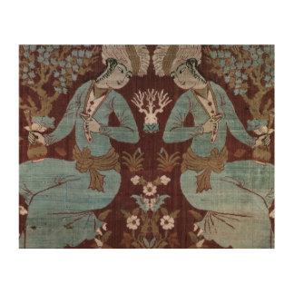 Isfahan-Artplatte, Perser, 17. Jahrhundert (Seide) Holzleinwand