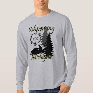 Ishpeming Michigan Snowmobile-Bär LS-Grau T-Shirt