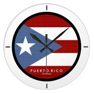 Isla Del Encanto, Puerto- Ricoflagge Große Wanduhr
