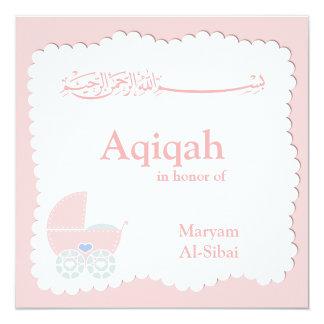 Islamische Aqiqa Babyeinladung bismillah Moslems Quadratische 13,3 Cm Einladungskarte