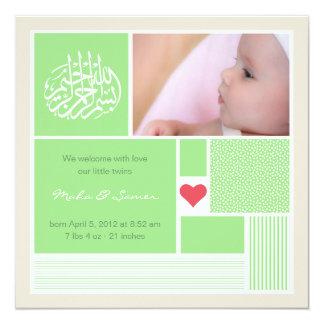 Islamische Baby aqiqah Mitteilungs-Einladungszwill Individuelle Ankündigungskarte