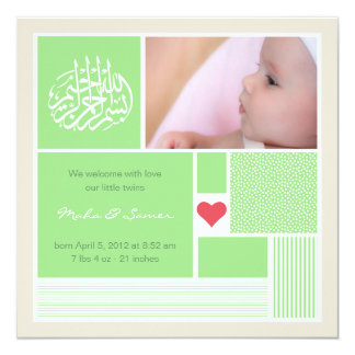 Islamische Baby aqiqah Quadratische 13,3 Cm Einladungskarte