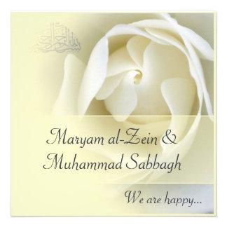 Islamische gelbe weiße Rosenhochzeit -Verlobung Individuelle Einladung