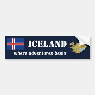 Island-Flagge + Karten-Autoaufkleber Autoaufkleber