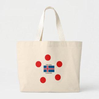 Island-Flagge und isländischer Sprachentwurf Jumbo Stoffbeutel
