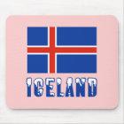 Island-Flagge und Namen-Schnee Mousepad