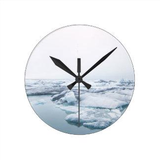 Island-Gletscher - Weiß Runde Wanduhr