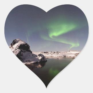 Island im Winter Herz-Aufkleber