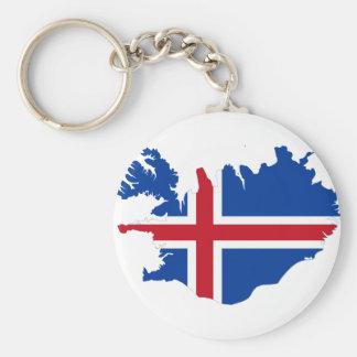 Island IST Ísland Flaggenkarte Standard Runder Schlüsselanhänger