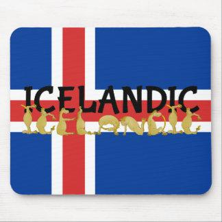 Isländische Flagge des Pferd| von Island Mousepad