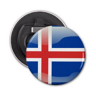 Isländische glatte Flagge Runder Flaschenöffner
