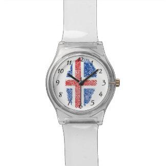 Isländische Touchfingerabdruckflagge Uhr