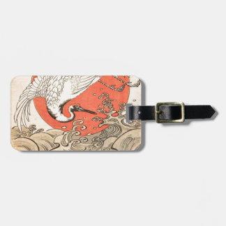Isoda Koryusai - Kran, Wellen und aufgehende Sonne Gepäckanhänger