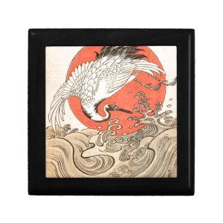 Isoda Koryusai - Kran, Wellen und aufgehende Sonne Geschenkbox
