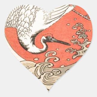 Isoda Koryusai - Kran, Wellen und aufgehende Sonne Herz-Aufkleber
