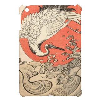 Isoda Koryusai - Kran, Wellen und aufgehende Sonne iPad Mini Hülle