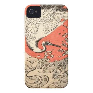 Isoda Koryusai - Kran, Wellen und aufgehende Sonne iPhone 4 Etuis