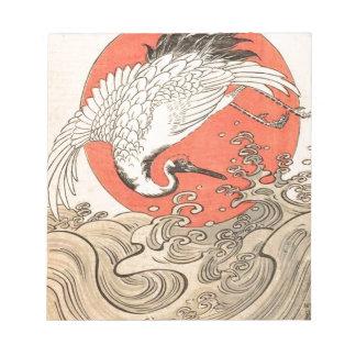 Isoda Koryusai - Kran, Wellen und aufgehende Sonne Notizblock