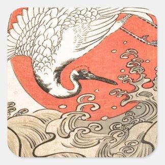 Isoda Koryusai - Kran, Wellen und aufgehende Sonne Quadratischer Aufkleber