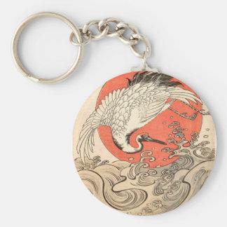 Isoda Koryusai - Kran, Wellen und aufgehende Sonne Schlüsselanhänger