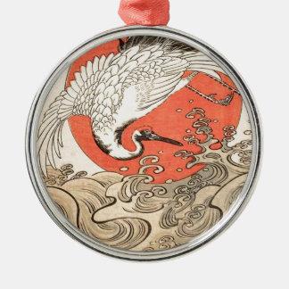 Isoda Koryusai - Kran, Wellen und aufgehende Sonne Silbernes Ornament