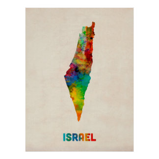 Israel-Aquarell-Karte Poster