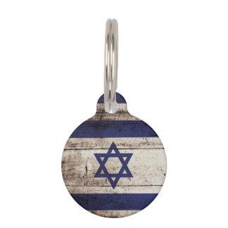 Israel-Flagge auf altem hölzernem Korn Tiermarke