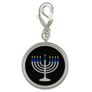 Israel-Silber/blaues Chanukka Menorah auf Foto Charms