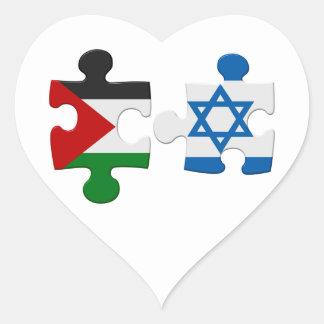 Israel- und Palästina-Konflikt-Flaggen-Puzzlespiel Herz-Aufkleber