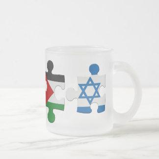Israel- und Palästina-Konflikt-Flaggen-Puzzlespiel Mattglastasse